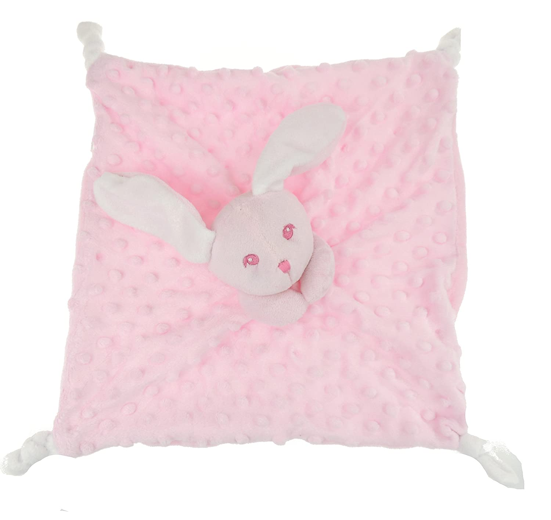 Adorable Super Soft Plush Bunny Rabbit Baby Popple Velour Comforter Security Blanket Blue Glamour Girlz