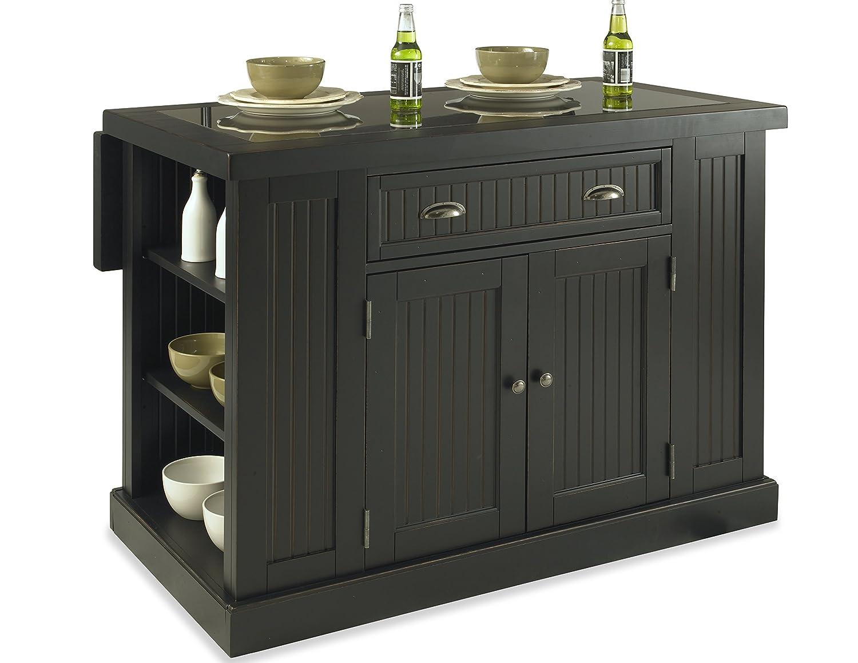 Amazon com home styles 5033 94 nantucket kitchen island distressed black finish kitchen dining