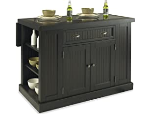 Nantucket Distressed Black Kitchen Island by Home Styles
