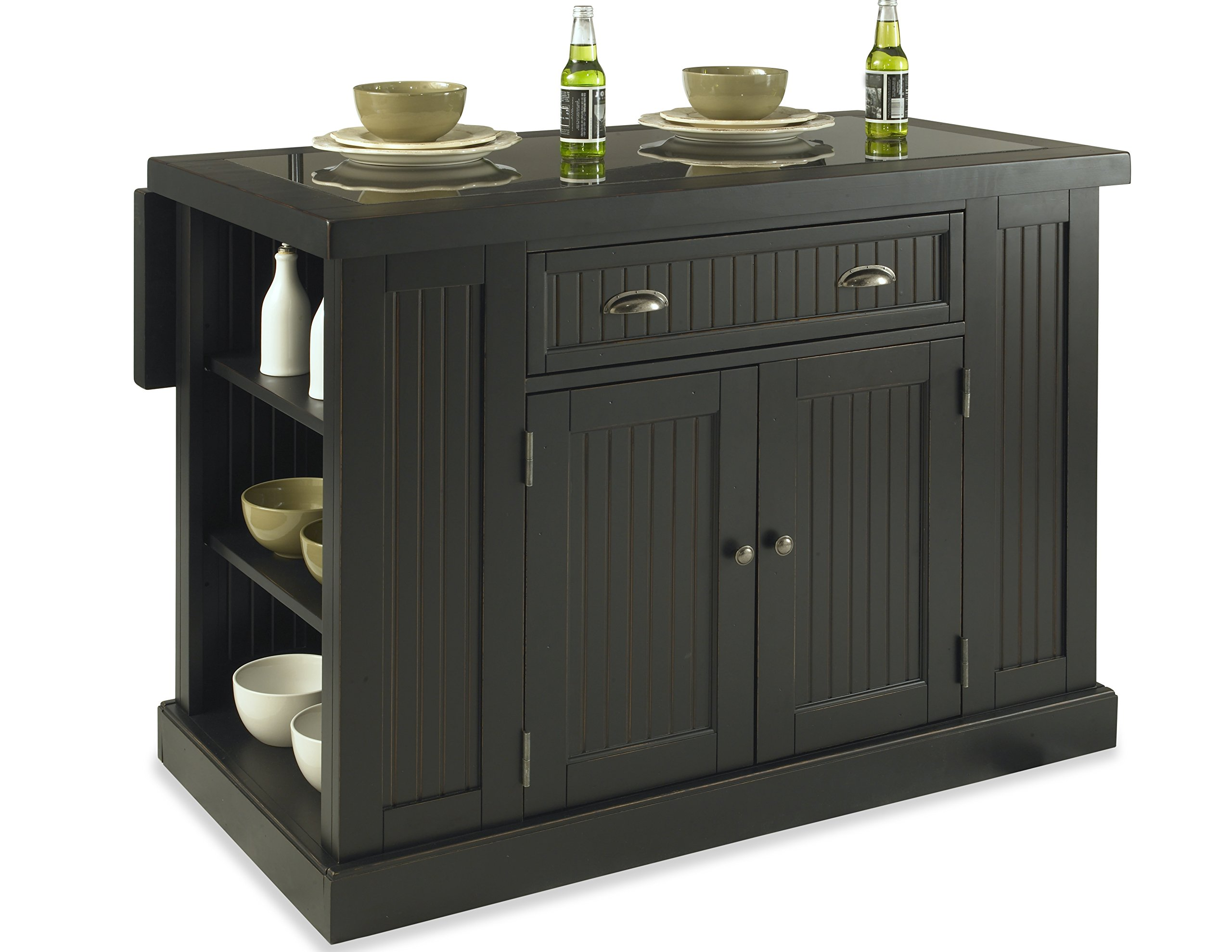 Home Styles  Nantucket Kitchen Island, Distressed Black Finish