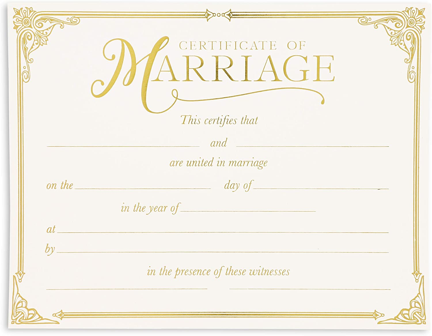 Marriage Certificates with Gold Foil Edges (11 x 8.5 in, 48 Pack)