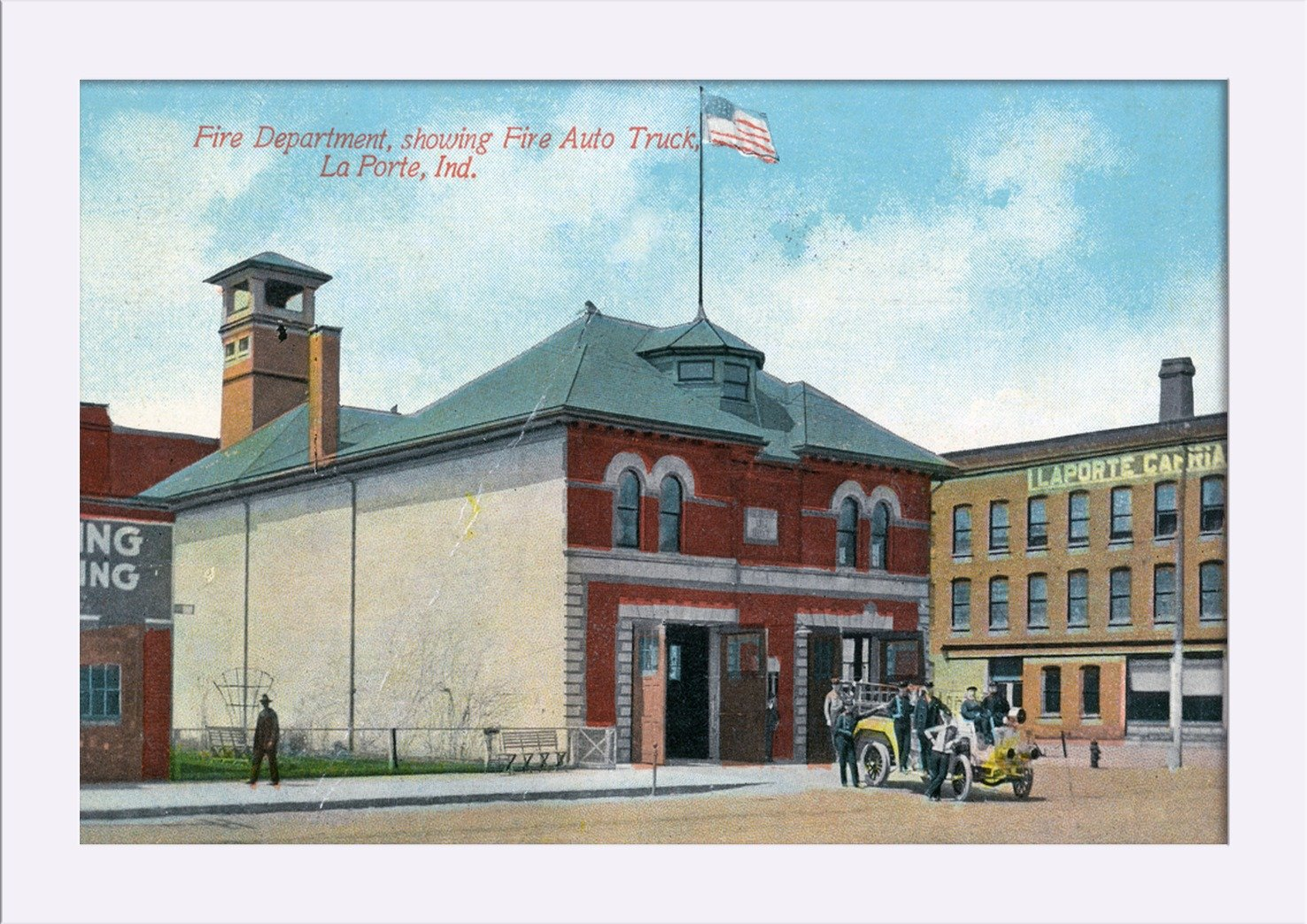 Amazon.com: La Porte, Indiana - Exterior View of Fire Dept and Fire Truck (18x11 3/8 Giclee Art Print, Gallery Framed, White Wood): Posters & Prints