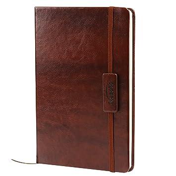 Kesote A5 Notizbuch Liniert Hardcover Leder Tagebuch mit Gummiband Lesezeichen Innentasche, 200 Seiten