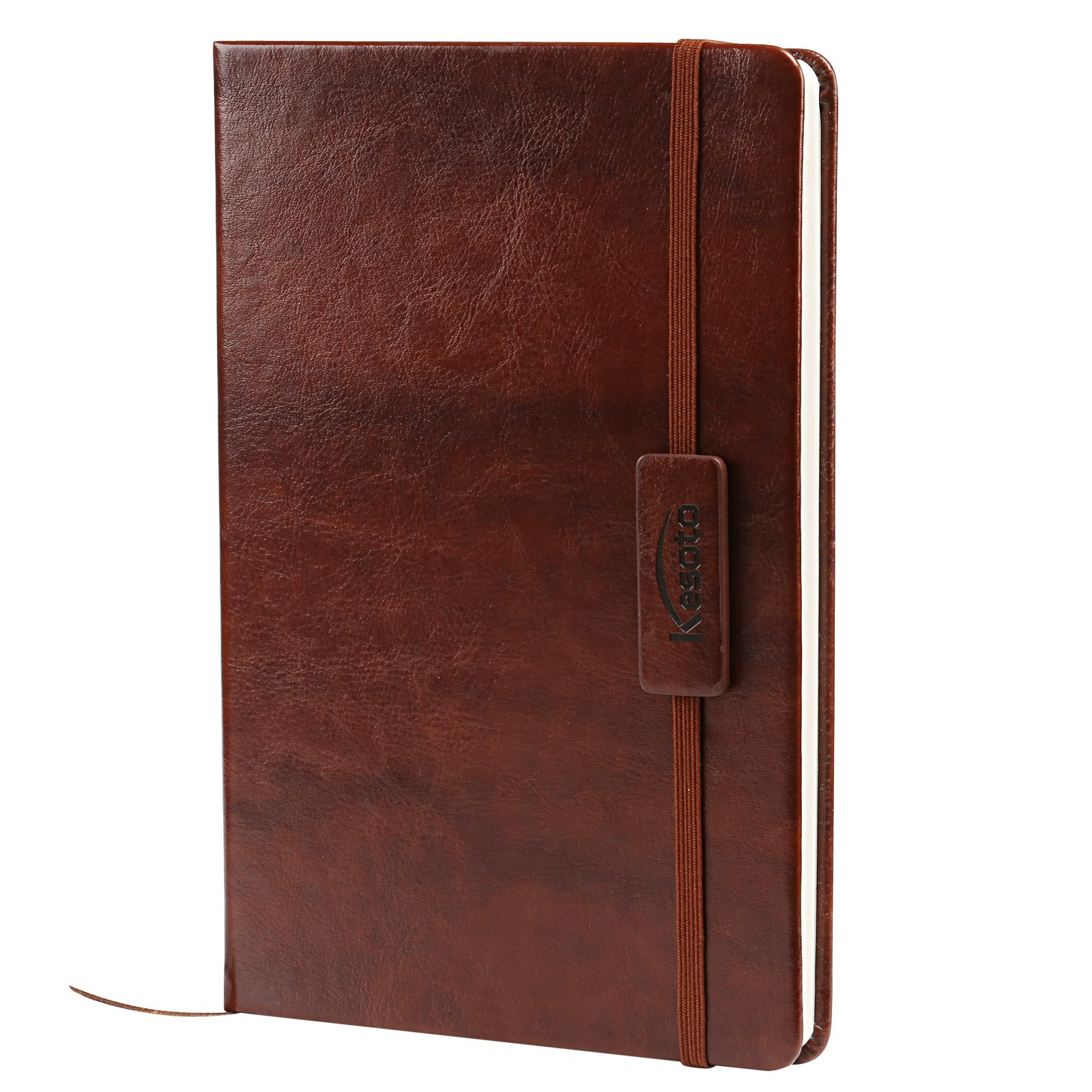 Kesoto A5 Classic Ruled Leather Hardcover Writing Notebook Journal Diary with Elastic Closure and Expandable Paper Pocket (200 Pages) by Kesoto (Image #1)