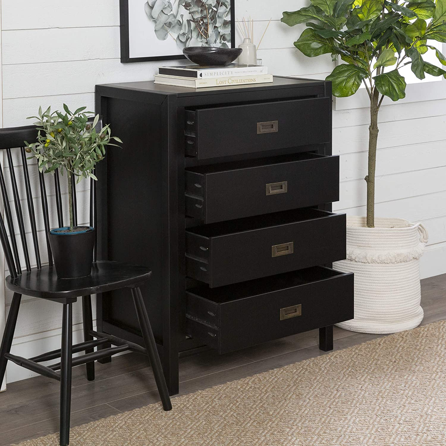 40 Classic Solid Wood 4 Drawer Chest Black Kitchen Dining