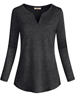 a9bdfa8d265 Miusey Womens Casual Long Sleeve Curved Hem Loose fit Henley V Neck Tunic  Shirt