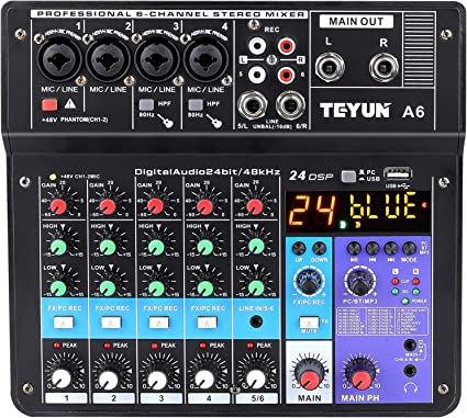 Amazon Com Wireless Professional 6 Channel Audio Mixer Teyun Portable Sound Mixing Console With Usb Interface Digital Computer Input 48v Phantom Power Monitor Audio Equipment For Home Music Production Webcast Musical Instruments