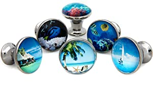 Tropical Ocean Beach Theme #2 Drawer Pulls, Cabinet Pulls, Dresser Knobs - Set of 6 Knobs