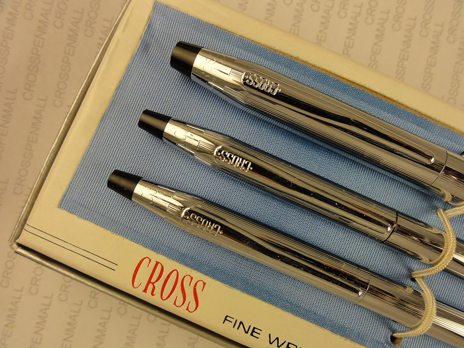 Cross Made in the USA Classic Century Lustrous Chrome Trio of Selectip Gel Ink Rollerball Pen, Ball-point Pen and 0.9MM Pencil Set