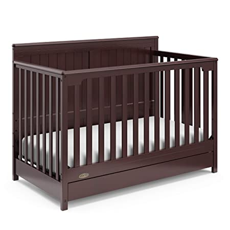 Graco Hadley 4-in-1 Convertible Crib with Drawer, Espresso, Easily Converts to Toddler Bed Day Bed or Full Bed, Three Position Adjustable Height Mattress,Some Assembly Required Mattress Not Included