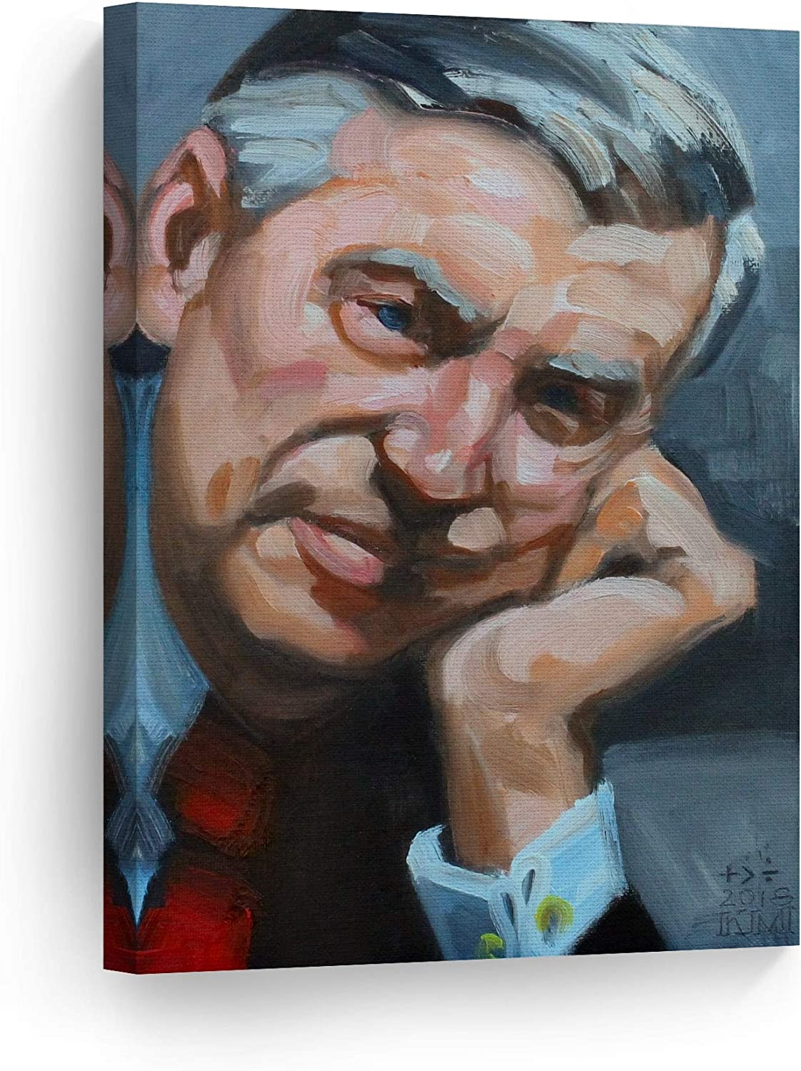 Amazon Com Smile Art Design Fred Rogers By Kenney Mencher Celebrity Portrait Oil Painting Canvas Print Living Room Decor Wall Art Bedroom Home Decor Artwork Ready To Hang Made In Usa 40x30