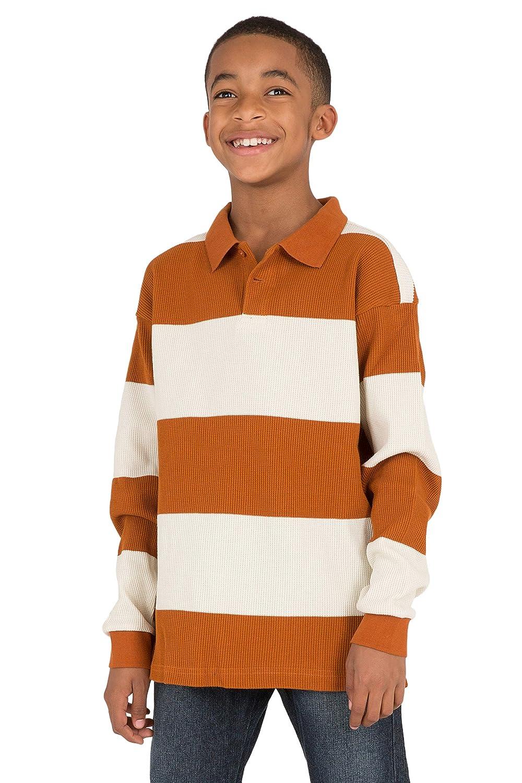 Vibes Boys Thermal Long Sleeve Polo Shirt Copper /& Beige Yarn Dye Wide Stripe
