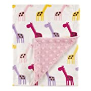 Hudson Baby Unisex Baby Plush Mink Blanket with Dotted Mink Back, Pink Giraffe, 30x40 inches