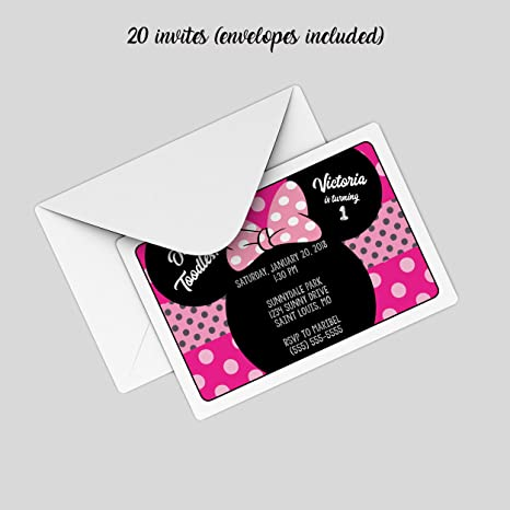 Amazon customized minnie mouse birthday party invitation 20 customized minnie mouse birthday party invitation 20 count filmwisefo