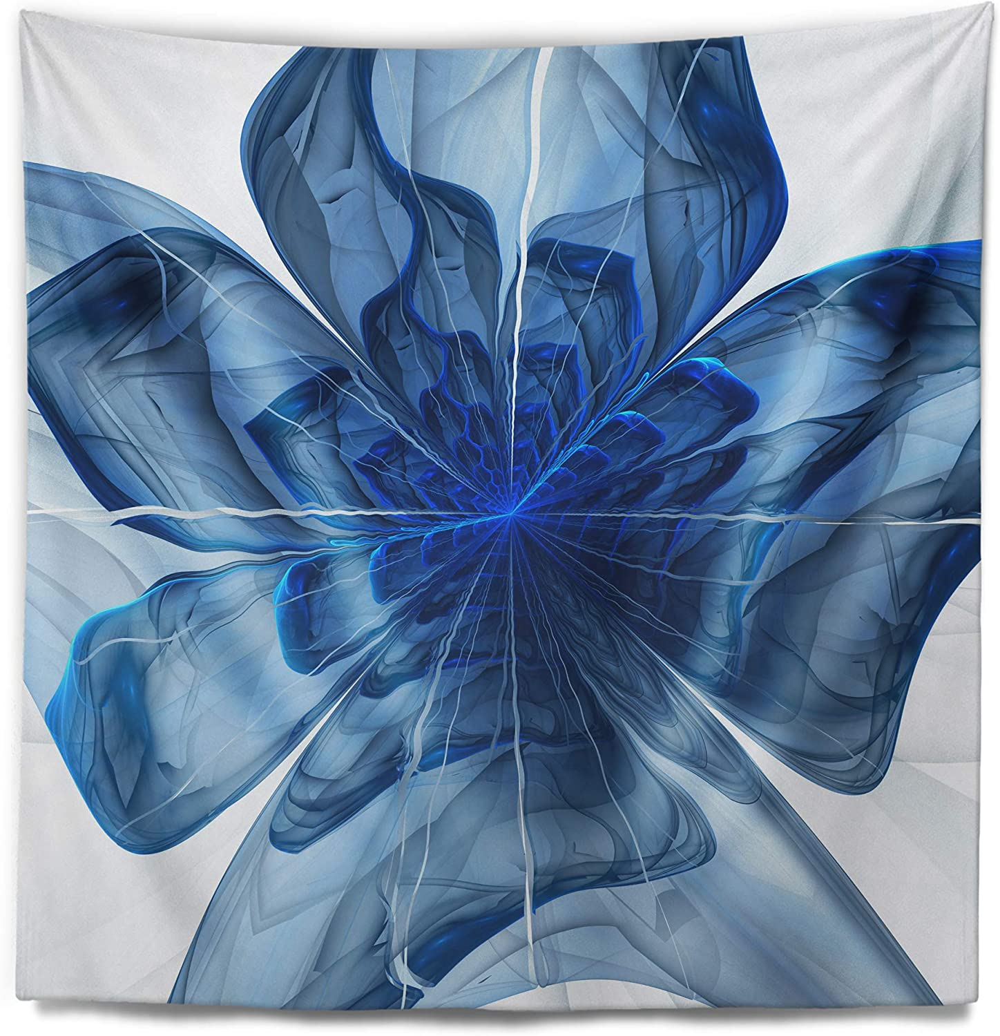 Designart Blue Fractal Flower With Large Petals Floral Tapestry Blanket Décor Wall Art For Home And Office Medium 32 In X 39 In Arts Crafts Sewing