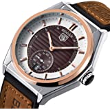 BENYAR Watches for Men Business 5125M Waterproof 3ATM Rose Gold Brown Leather and Silicone Band Simple