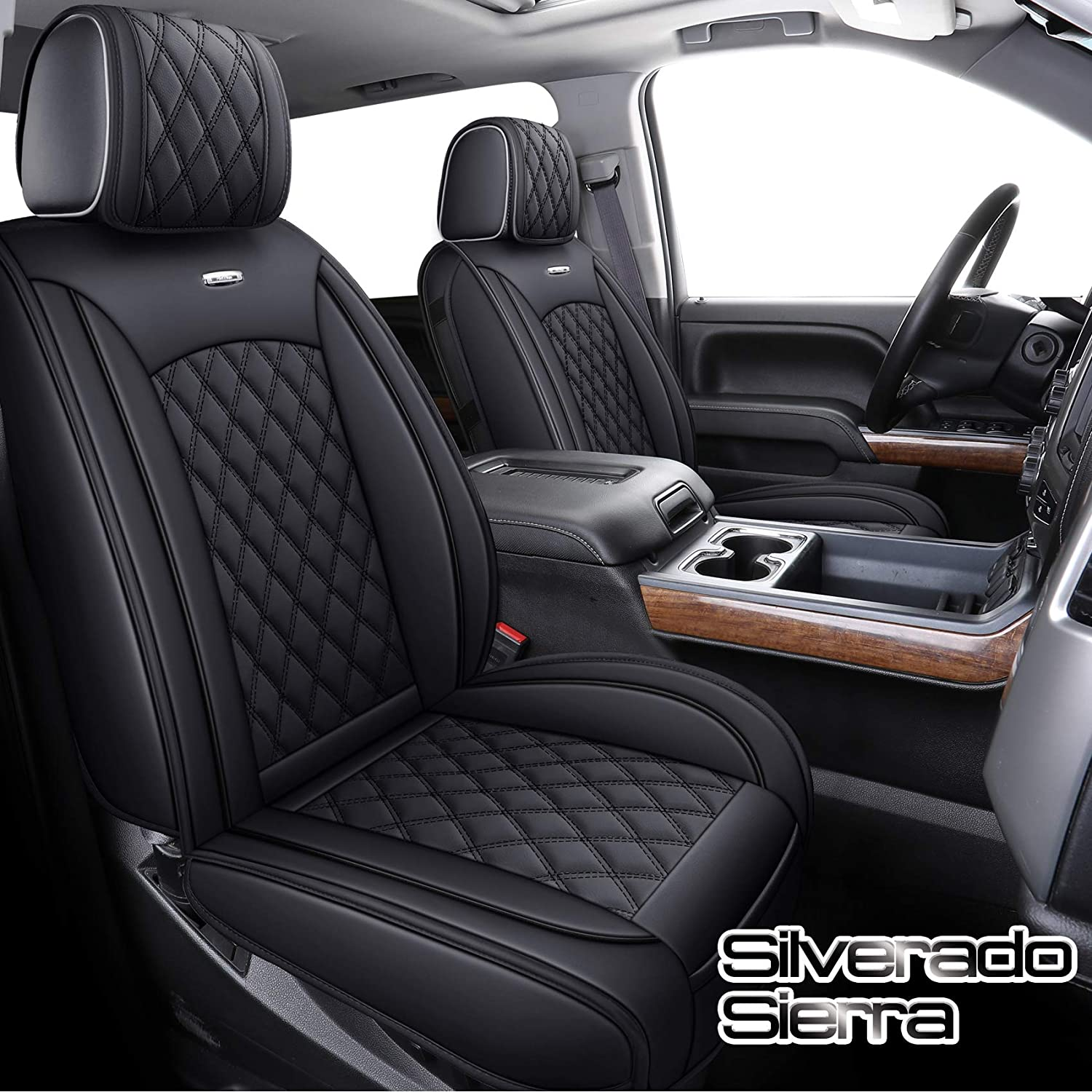 Aierxuan Seat Covers for Cars Full Set Chevy Chevrolet Silverado GMC Sierra Pickup 2007-2021 1500 2500HD 3500HD Crew Double Extended Cab Waterproof Leather Seat Protectors (Full Set, Black)
