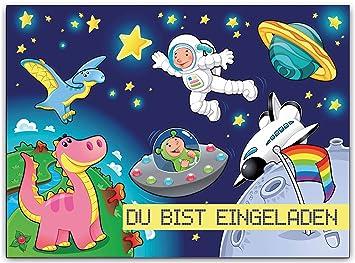 Astronaut Rakete Raumschiff Kindergeburtstag Einladungskarten Einladung  Geburtstagseinladung Weltraum Weltall Rakete Planeten Kosmonaut Spaceshuttle