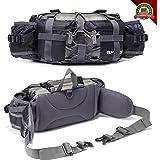 YUOTO Outdoor Fanny Pack Hiking Camping Hunting Ski Fishing Gear Waist Pack 2 Water Bottle Holder Lumbar Bag