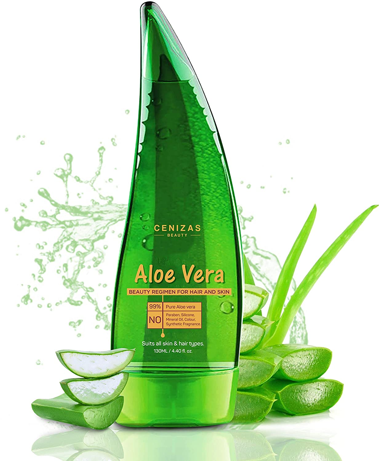 Cenizas 99% Pure Paraben Free Aloe Vera Gel for Face, Skin and Hair, 130 ml