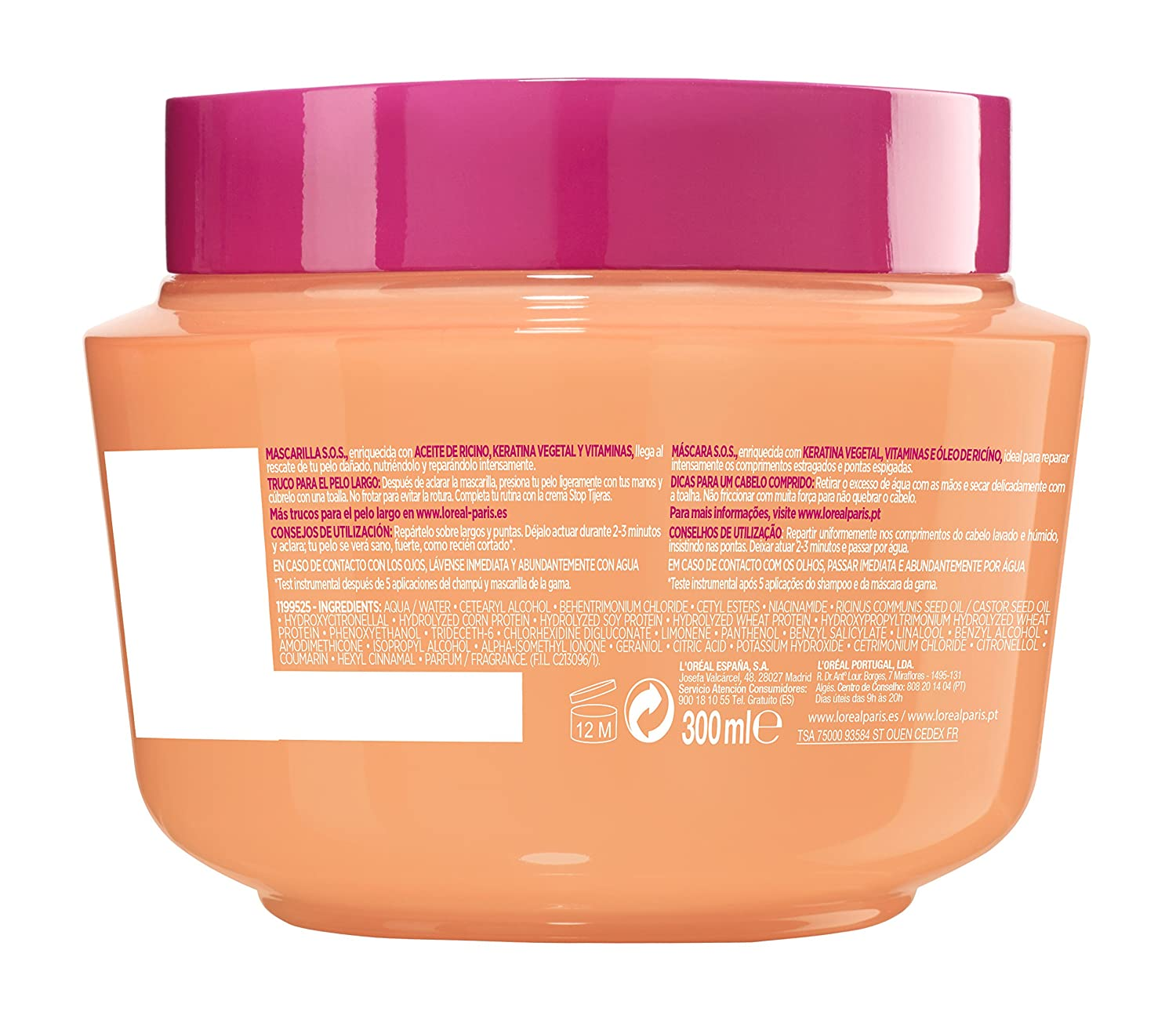 LOréal Paris Elvive S.O.S. Dream Long Mascarilla - 300 ml: Amazon.es: Amazon Pantry
