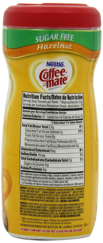 Coffee Mate Sugar Free Hazelnut Creamer Nutrition Facts