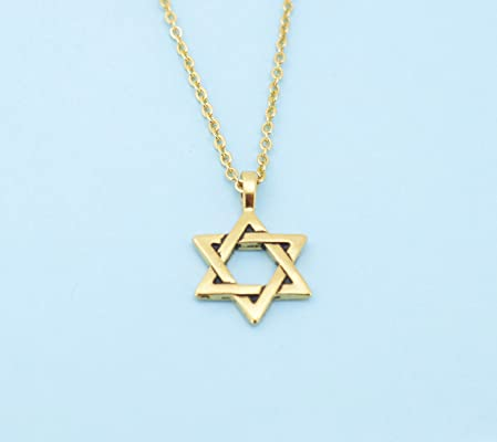 Star of David necklace in gold plated pewter on an 18 gold plated cable chain. Jewish jewelry. Jewish gifts. Jewish Star.