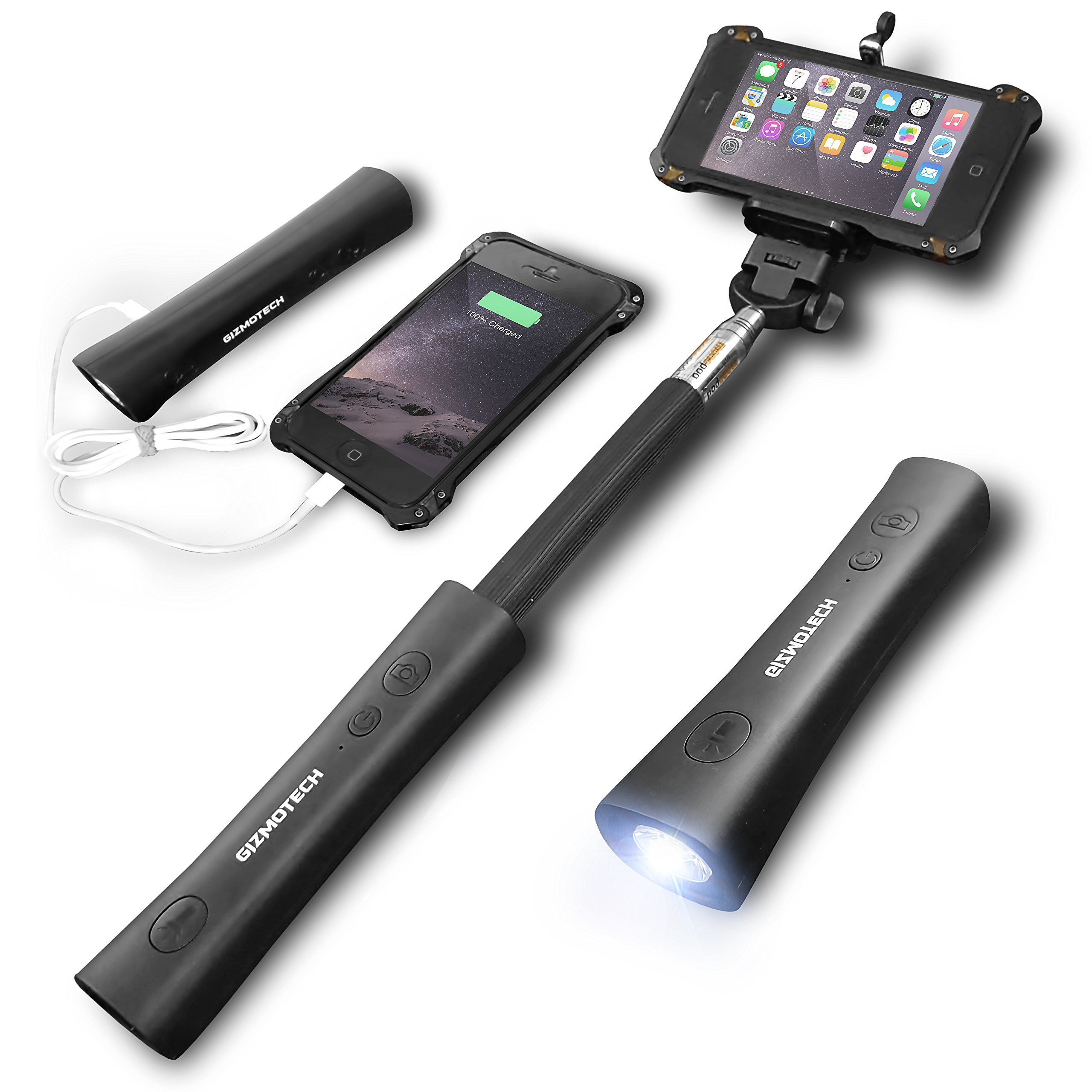Gizmotech Selfie Stick, 3-in-1 Bluetooth Selfie Stick Extendable Monopod with Built-in Remote Shutter, Power Bank, Torch for iPhone 6, 6S, 6 Plus, 5, 5S, 5C, Android