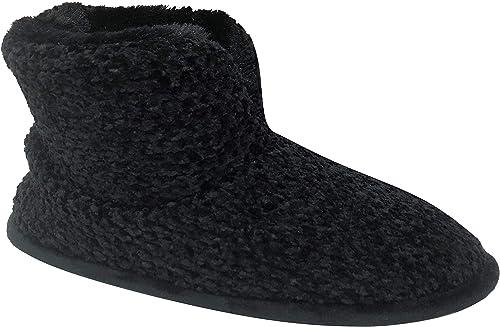 Dearfoams Women/'s Solid Velour Bootie Slipper Fleece Comfort House Shoes Fur