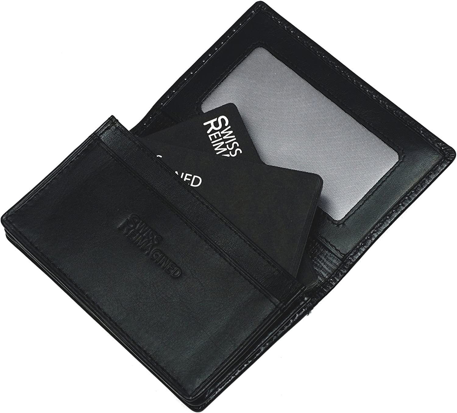 SWISS REIMAGINED Mens Genuine Leather RFID Protected Business Card Holder with ID