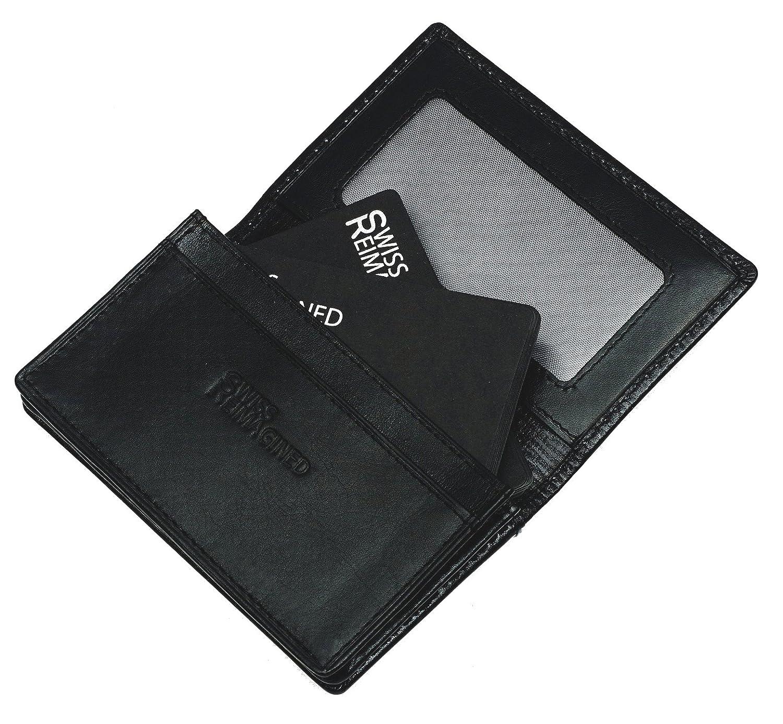 SWISS REIMAGINED Cartera de Cuero para Hombre con RFID para Tarjetas de Crédito y de Presentación - Negro: Amazon.es: Equipaje