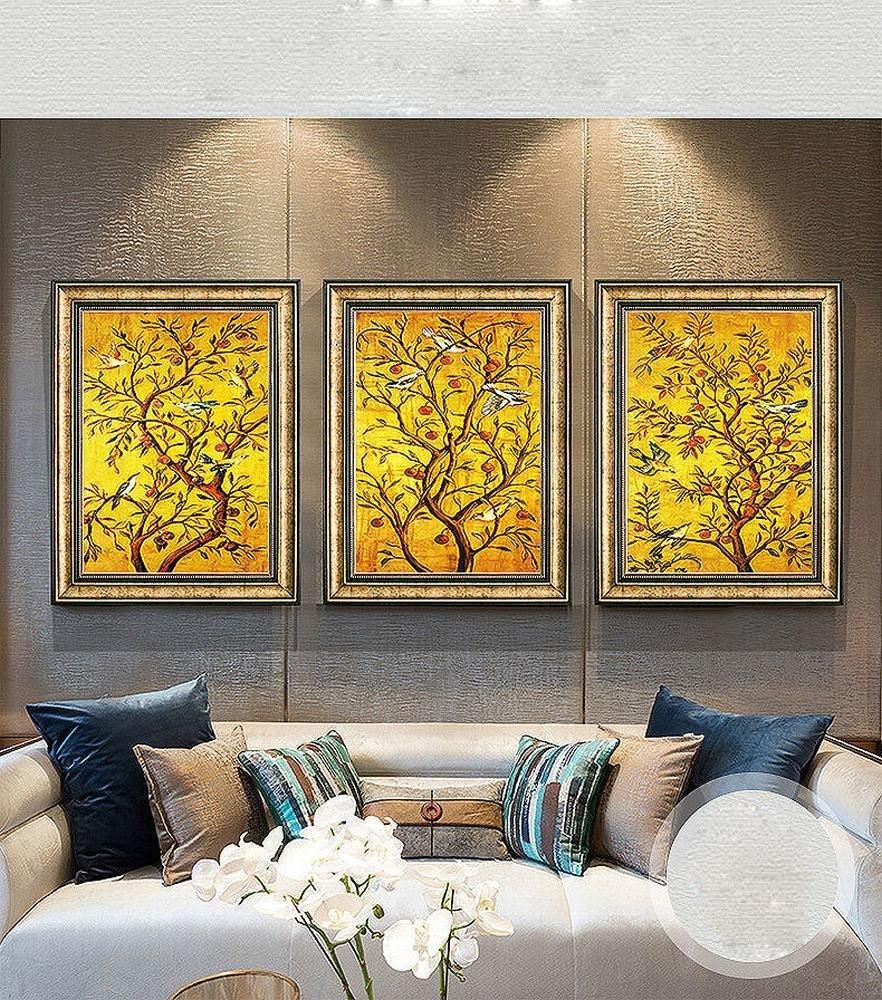 DIDIDD Sala de Estar Decoración Pintura Sofá Fondo Pared Pintura Pintura Jardín Restaurante Sala de Estar Triple Pintura Enmarcada Murales,Mi,54  74CM