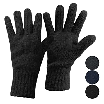 65330d27e ALPIDEX Thermal Knitted Gloves DARK SHEEP with Thinsulate for Women Ladies  and Men Gentlemen Unisex Thinsulate
