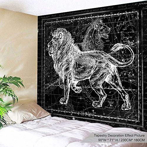 PROCIDA Black and White Lion Constellation Tapestry Animal Cool Lion King Vintage Tapestry Wall Hanging Tapestry for Dorm Room Bedroom Living Room, 90 W x 71 L, Black and White Lion