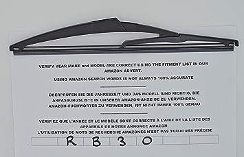 Limpiaparabrisas trasero de ajuste exacto de 29 cm RB30: Amazon.es: Coche y moto