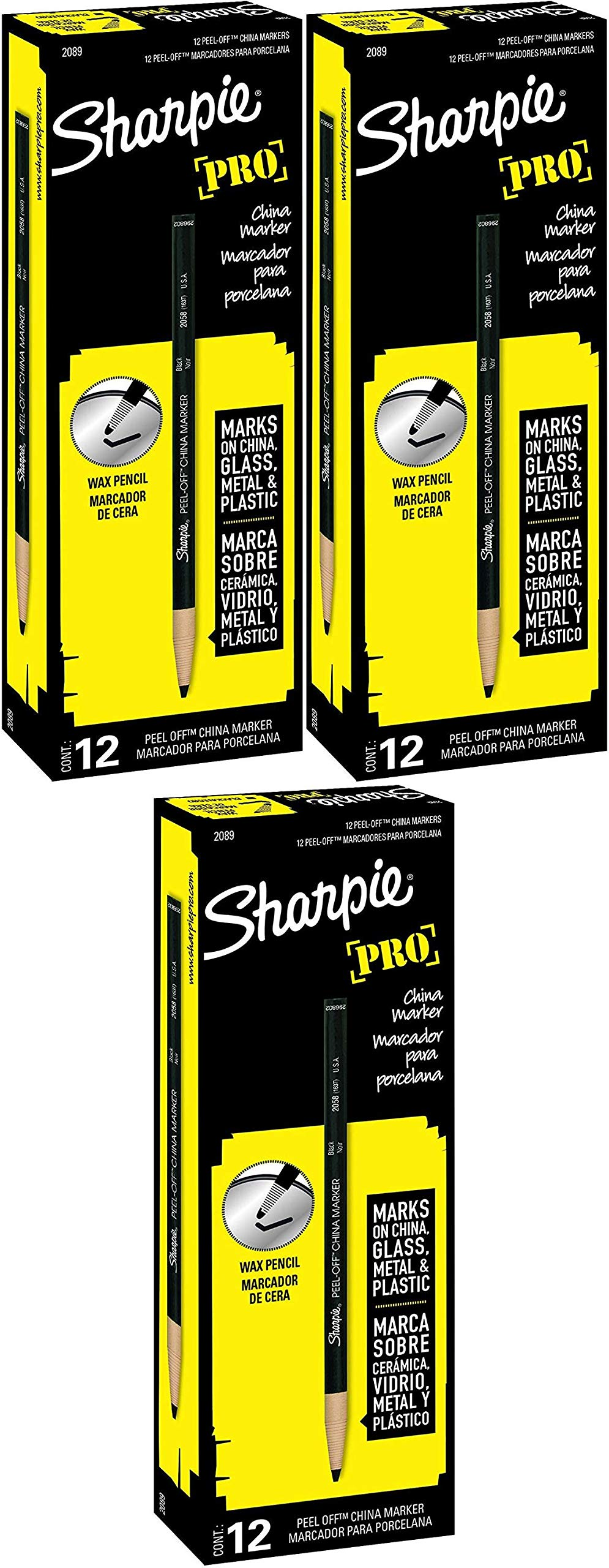 Sharpie PEEL-OFF Marker China, China Marker Bullet, 12 Pack, Black (2089) Pack of 4 by SHARPIE