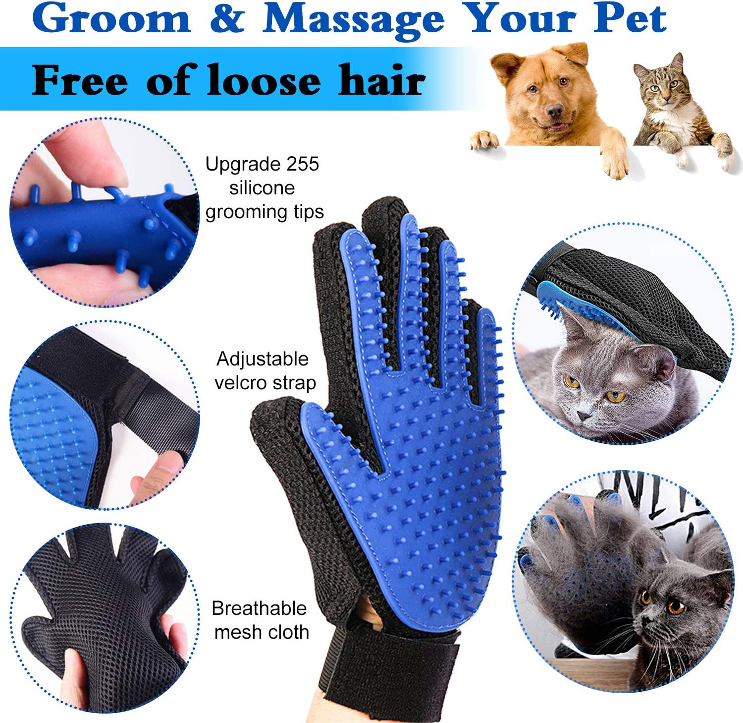 Carpet Upgrade Pet Hair Remover /& Pet Grooming Gloves Kit Efficient Double-Sided Brush with Self-Cleaning Base for Clothing Car Seat Furniture Perfect for Dog /& Cat with Long /& Short Fur