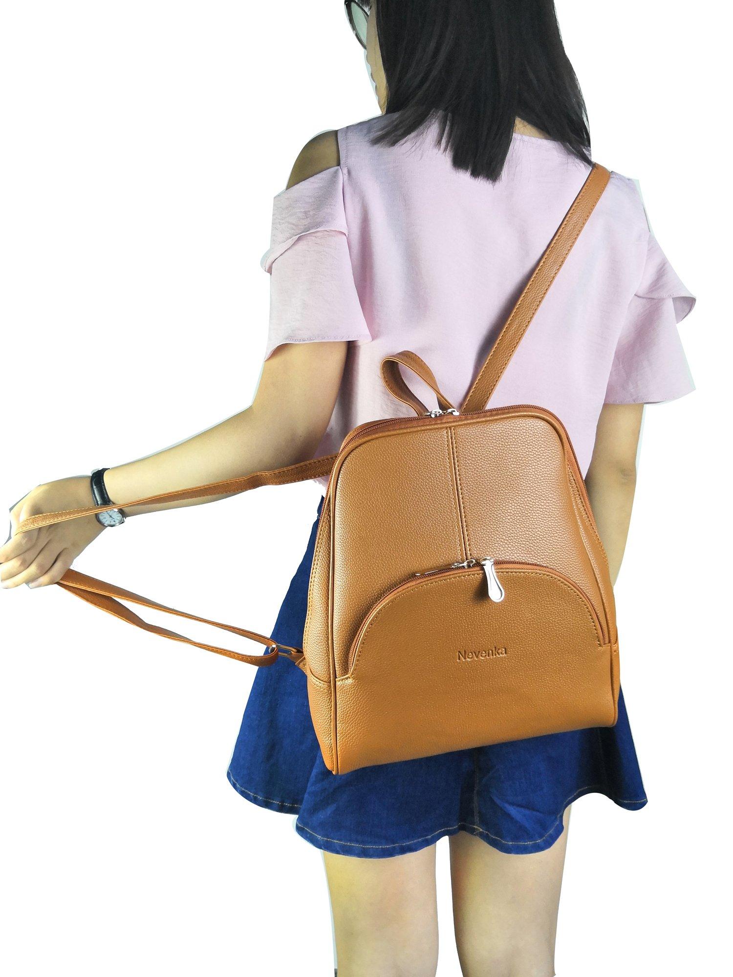 Nevenka Brand Women Bags Backpack Purse PU Leather Zipper Bags Casual Backpacks Shoulder Bags (Autumn Maple) by Nevenka (Image #5)