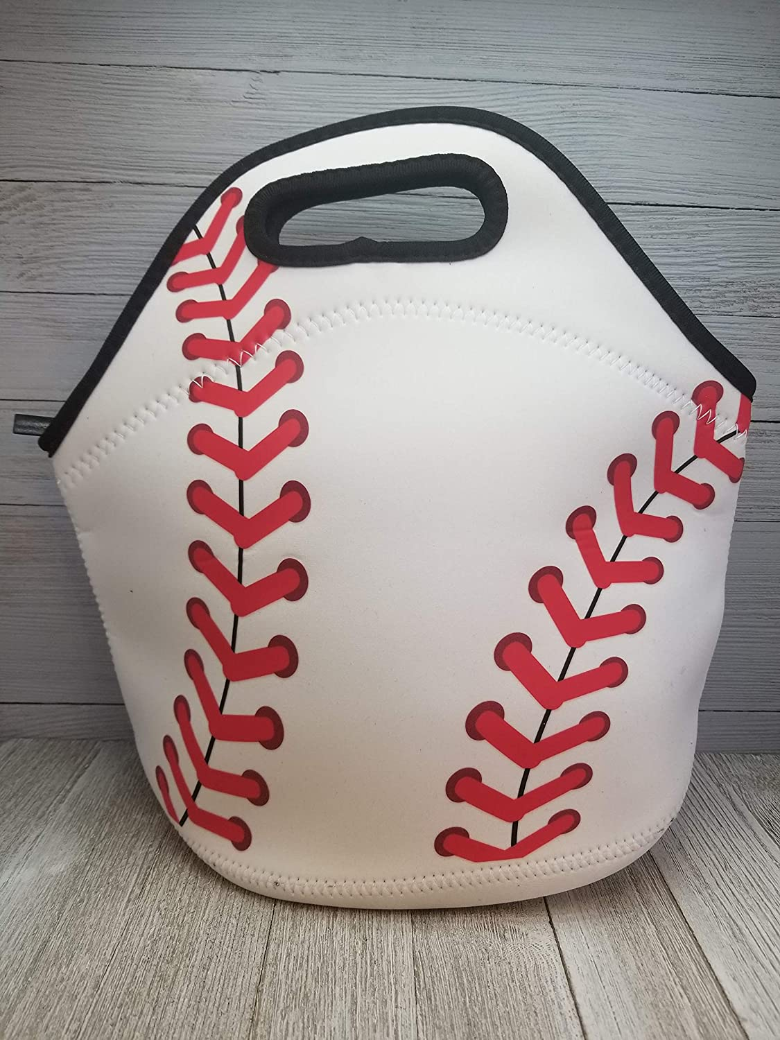 Baseball Neoprene Lunch Tote. Reusable, Insulated, Soft Sided Lunch Bag. Washable.
