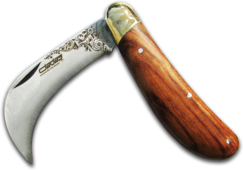 "7"" Folding Garden Hawkbill Knife, Weed Pruning, Mushroom, Budding Grafting, Vineyards Knives for Gardeners or Campers Harvesting Orchards Blade - High Carbon"
