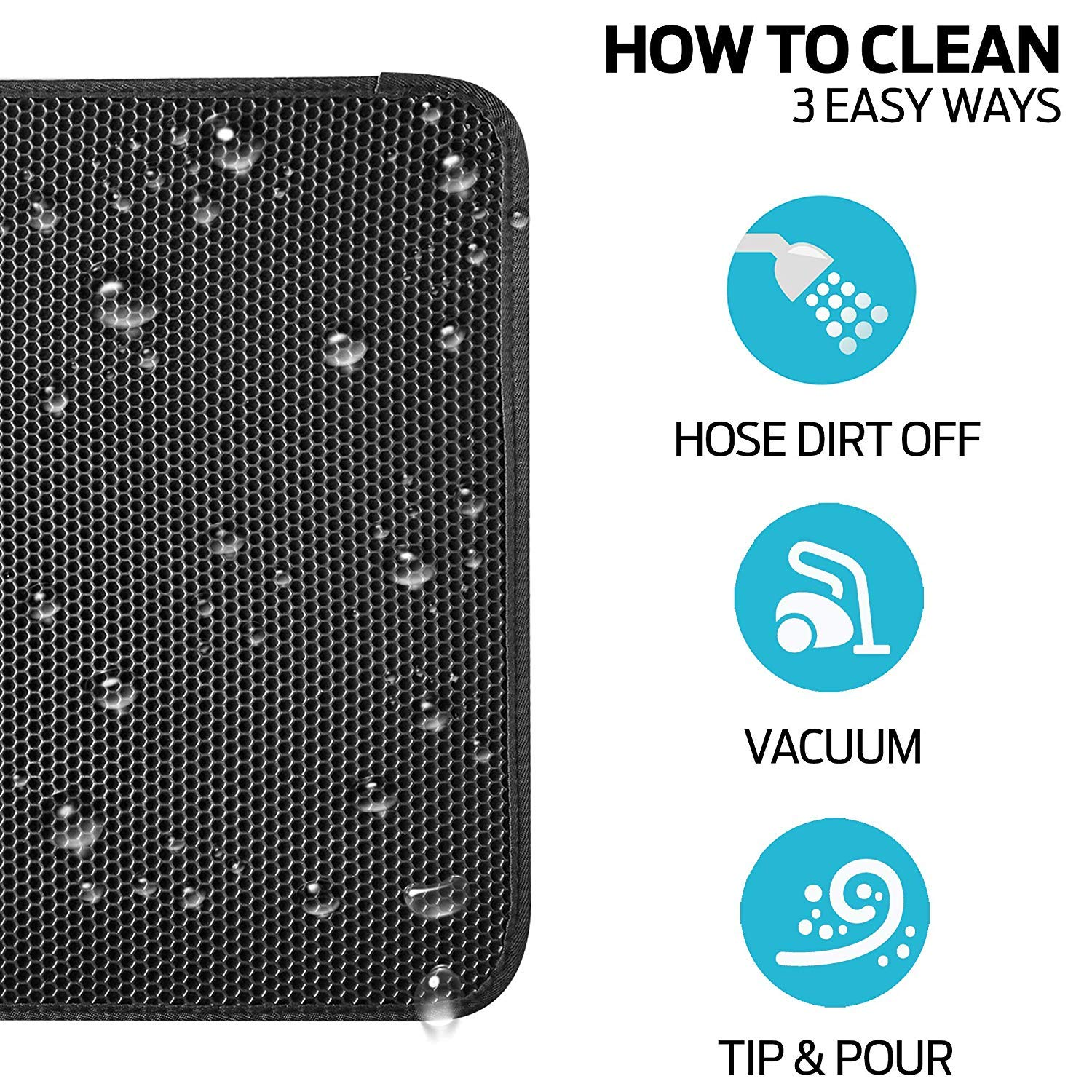 27 x 23(2 Pack), Black Double Layer Waterproof Honeycomb Design Eco-Friendly Light Weight EVA Foam Rubber Non Toxic Trapper Rug Suitable for Litter Boxes//Tray Easy Clean and Durable Large Size 27 X 23 ZuHucpts Cat Litter Mat Trapper