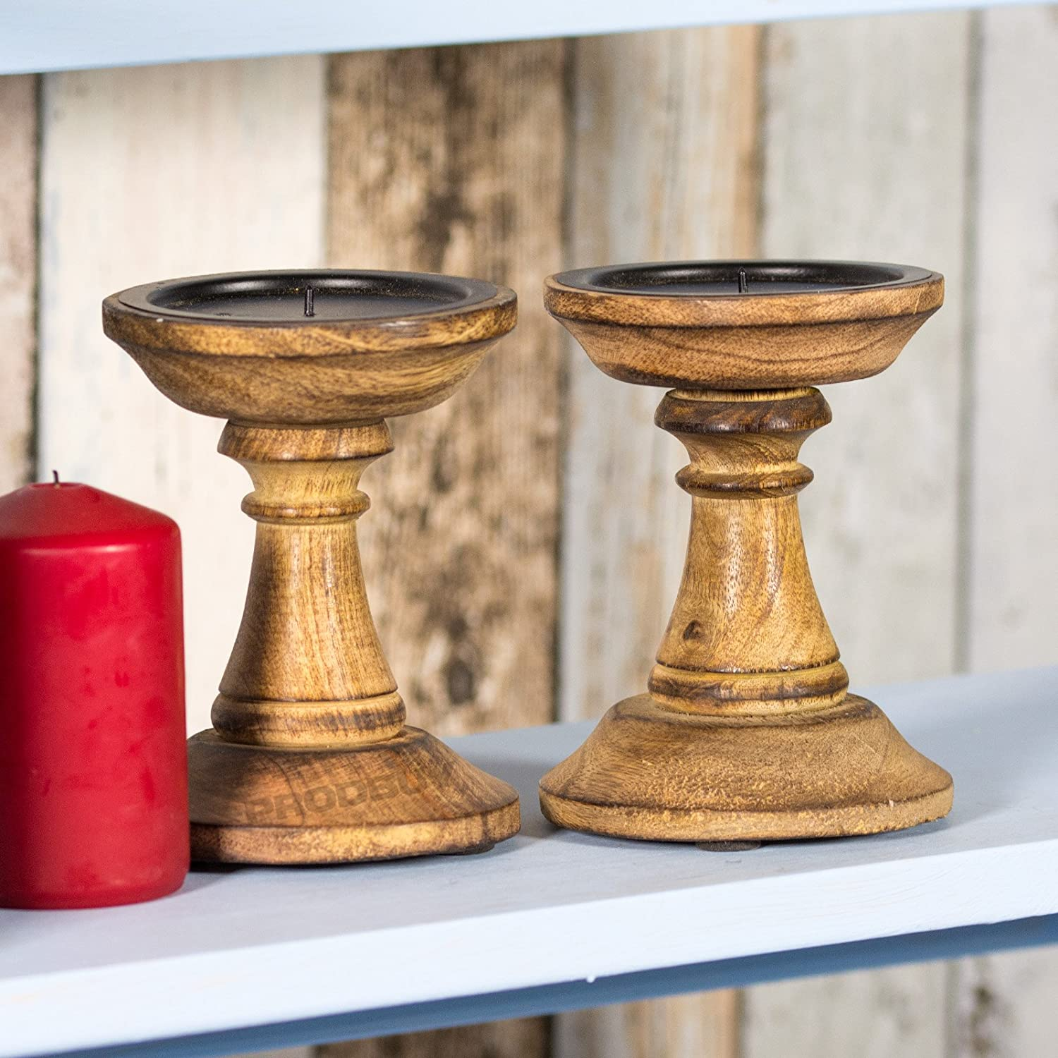 Set of 2 Wooden Pillar Candle Holders Brown Design Four