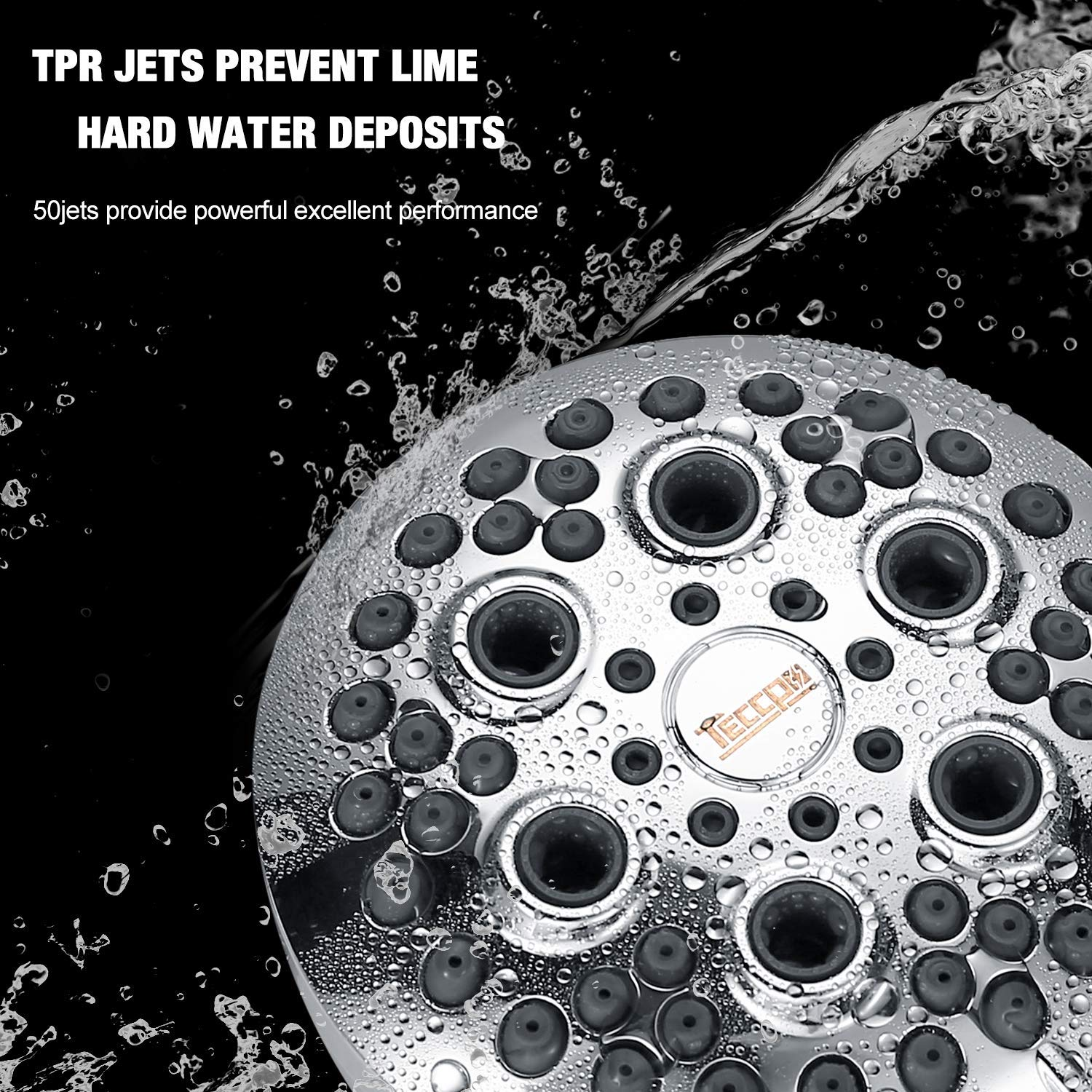 self-cleaning and water-saving high pressure shower head Shower Head TECCPO 3.5 Inch 5-Setting High Pressure Shower Head with chrome-plated finish pure copper connector