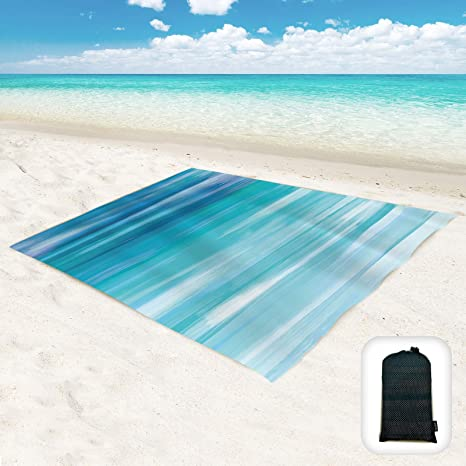 Picnic Quick Drying and Lightweight with 5 Pockets and 4 Upgraded Screw Beach Anchors for Beach Camping Portable Bag Waterproof Sandproof Beach Mat Maylai Beach Blanket Sandproof Hiking