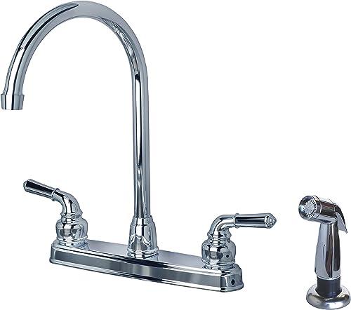 Laguna Brass 1201SPCP RV Mobile Home Non-Metallic High Arc Swivel Kitchen Sink Faucet with Side Spray, Chrome Finish