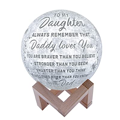 Engraved 3D Moon Lamp for Daughter, Personalized 5.9 Inch 3D Printing Moon Light Gift for Daughter Son Graduation Gift from Mom, from Dad (for Duaghter Form Dad) [5Bkhe0401990]