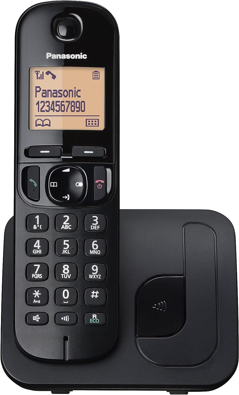 Panasonic KX-TGC210 - Teléfono fijo inalámbrico (LCD, identificador de llamadas, agenda de 50 números, tecla de navegación, modo ECO, reducción de ruido), Negro, TGC21 Solo