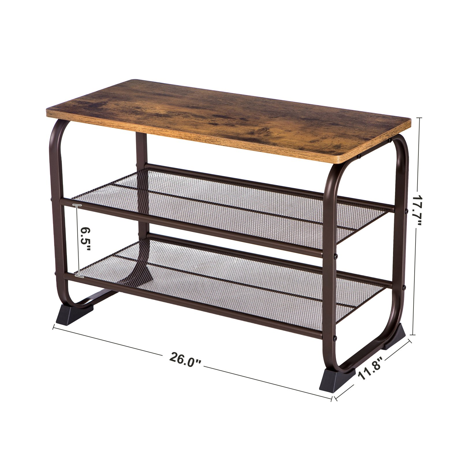 SONGMICS Vintage Shoe Bench Rack, 3 Tier Shoe Storage Shelf For Entryway  Hallway Living Room, Wood Look Accent Furniture With Metal Frame, Easy  Assembly ...