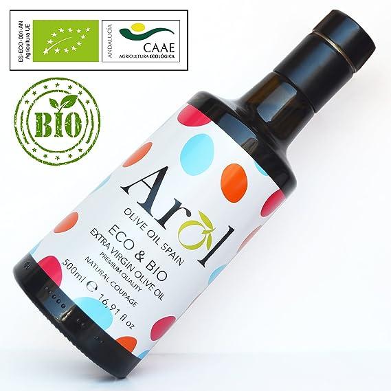 Aceite de Oliva Virgen Extra ECO&BIO 500 ml - Certificado Ecológico Europeo - 100% Orgánico