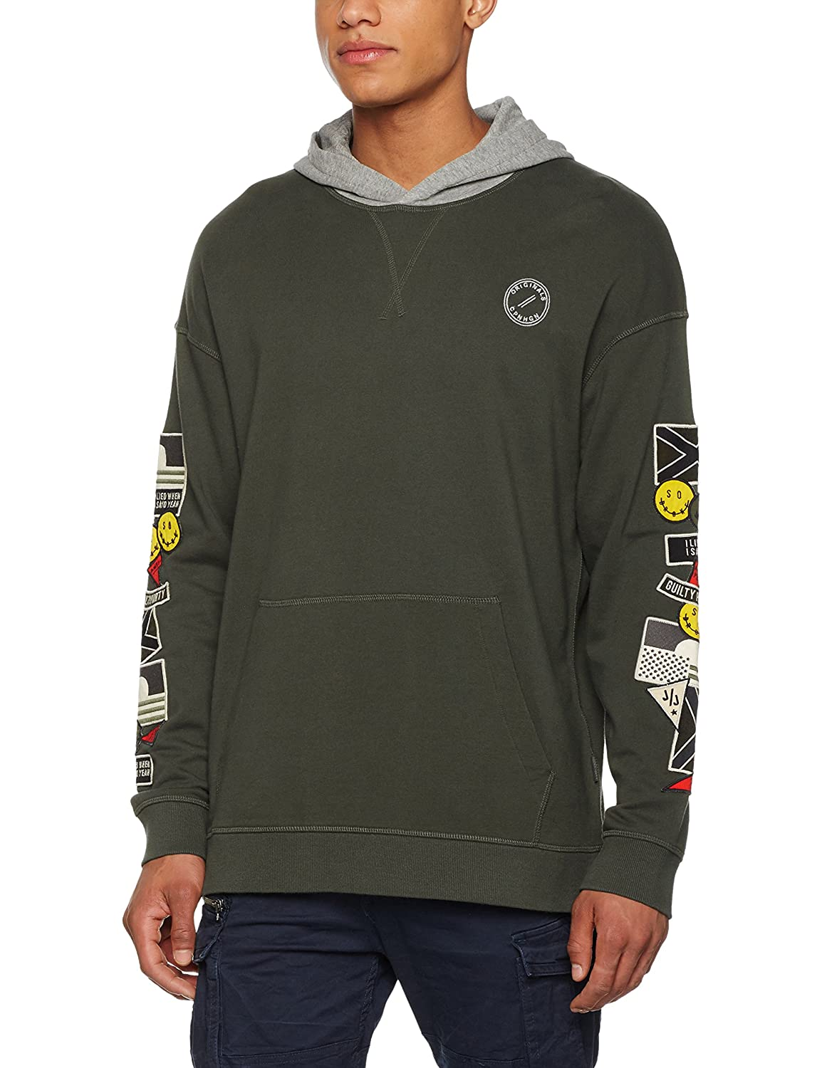 TALLA L. JACK & JONES Jorbadge Sweat Hood Capucha para Hombre
